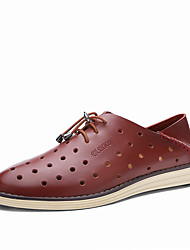 Men's Oxfords Spring Summer Comfort Leather Casual Low Heel Lace-up Black Blue Burgundy Others