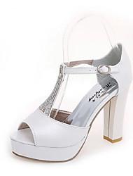 Mujer-Tacón Robusto Talón de bloque-Confort-Sandalias-Boda Fiesta y Noche Vestido Informal-PU-Blanco Plata
