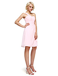 Lanting Bride® Knee-length Chiffon Bridesmaid Dress - Sheath / Column One Shoulder with Side Draping