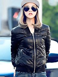 Женский На каждый день Однотонный Кожаные курткиПростое Зима Черный Длинный рукав,Полиуретановая