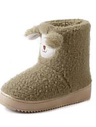 Women's Slippers & Flip-Flops Winter Comfort Fleece Casual Flat Heel Others Green Pink Gray Beige Others