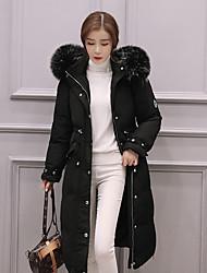 Manteau Doudoune Femme,Long simple Décontracté / Quotidien Couleur Pleine-Autres Duvet de Canard Blanc Manches Longues Rose / Noir / Gris