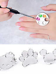 Cute Nail Art Metal Finger Ring Palette Mixing Acrylic Gel Polish Painting Drawing Color Paint Dish Manicure Tools