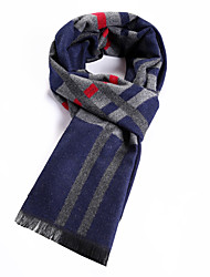 Men's Wool Blend Scarf Work / Casual / Calassic / Vintage Scarf for Winter Nature and Warm with Blue Color