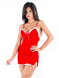 Women'S  Drape Sexy Lingerie Christmas Bow Mini Dress