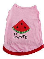 Cute Sweet Watermelon Pink Shirt Summer Dog Clothes for Pets