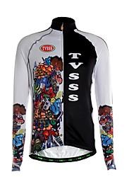 Esportivo Camisa para Ciclismo Homens Manga Comprida MotoRespirável / Mantenha Quente / Secagem Rápida / Zíper Frontal / Bolso Traseiro /