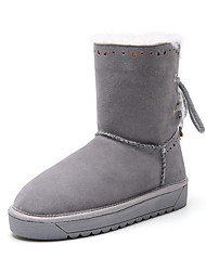 Women's Boots Spring Fall Winter Comfort Cowhide Outdoor Casual Athletic Flat Heel Lace-up Black Gray