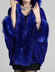 Damen Solide Einfach Lässig/Alltäglich Mantel / Capes,Herbst / Winter V-Ausschnitt Langarm Blau / Rot / Schwarz MittelWolle / Acryl /