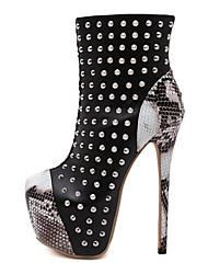 Mujer-Tacón Stiletto-Plataforma-Botas-Oficina y Trabajo Vestido Informal Fiesta y Noche-Microfibra PU-Negro