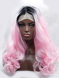 2016 venta caliente dos pelucas sintéticas resistentes al calor de color negro rizo al rosa encaje frente pelucas sintéticas ombre para