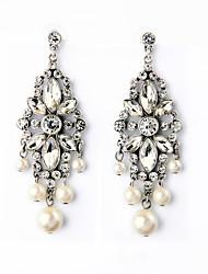 European Luxury Gem Geometric Earrrings Exaggerated Pearl Waterdrop Drop Earrings for Women Fashion Jewelry Best Gift