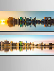 E-HOME® Stretched Canvas Art City Water Reflection Decorative Painting Set of 2