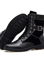 Men's Fashion Motorcycle Boots High Top Shoes Casual Combat Boots Wear-resistant Flat Heel Black EU39-43
