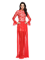 TS Couture Prom / Formal Evening Dress - Celebrity Style Sheath / Column Jewel Floor-length Chiffon Lace with Pleats