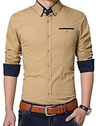 Men's Korean Slim Solid Color Long Sleeved ShirtCotton / Polyester Long Sleeve Blue / White / Gray