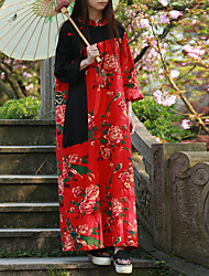Cynthia Women's Casual/Daily Chinoiserie Swing DressFloral Stand Maxi Long Sleeve Red Cotton