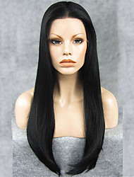 "IMSTYLE 24""Jet Black Synthetic Silky Straight Lace Front Wigs-N2"