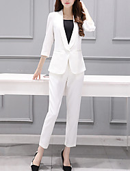 Women's Casual/Daily Simple All Seasons Suits,Solid Notch Lapel Long Sleeve White / Black Polyester Medium