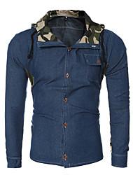 Men's Casual/Daily Simple Spring / Fall ShirtSolid Shirt Collar Long Sleeve Blue Cotton Medium hot sale
