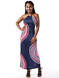 Women's Casual/Daily / Club Sexy / Vintage Backless Bandage Bodycon DressPrint Halter Maxi Sleeveless Mid Rise