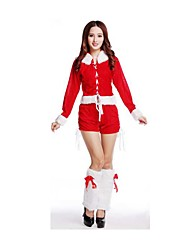 Christmas Costume /Holiday Halloween Costumes Red Solid Top / Garter / Shorts Christmas Female Pleuche