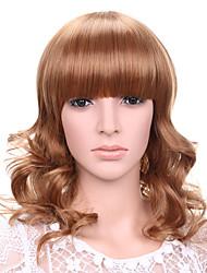 longue perruque de cheveux ondulés avec une frange fraise perruques couleur synthétiques blonds pour les femmes