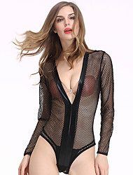 Women's Hollow Out Patchwork Ultra Sexy Nightwear Solid Thin Mesh / Spandex Black