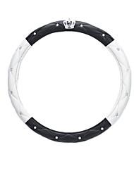 (Note * Small Sheepskin Crown White Black Diamond 38cm) Car Steering Wheel Cover