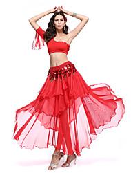 Dança do Ventre Roupa Mulheres Actuação Elastano / Poliéster Amarrotado 3 Peças Cinto / Saia / Top Skirt length: 90cm