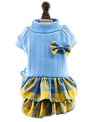 Dog Dress Dog Clothes Winter Spring/Fall Bowknot Cute Fashion New Year's Rose Red Blue
