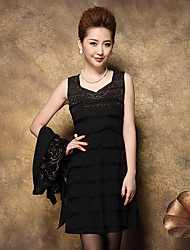 Women's Going out / Formal Vintage / Simple Chiffon Dress,Patchwork Asymmetrical Above Knee Long Sleeve Black Fall