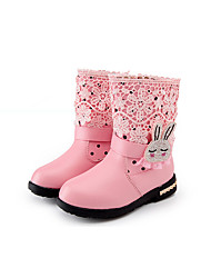 Girl's Boots Winter Comfort PU Dress / Casual Flat Heel Beading / Zipper Black / Pink / Red Walking