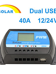 Y-SOLAR 40A LCD PWM Solar Charge Controller Battery Regulator 12/24V Dual USB  RTD-40A