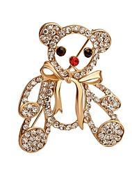 vente chaude brillant ours en cristal avec bowknot Broche pour les femmes