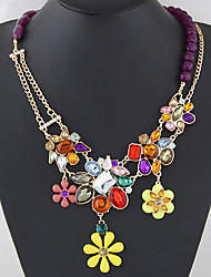 Women European Style Fashion Colorful Gemstone Flower Statement Necklace
