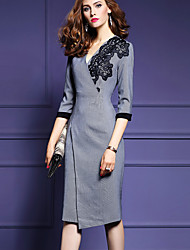 Women's Plus Size / Casual/Daily Simple Sheath Dress,Print V Neck Asymmetrical ¾ Sleeve Gray Polyester Fall / Winter Mid Rise