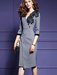 Gaine Robe Femme Décontracté / Quotidien Grandes Tailles simple,Imprimé Col en V Asymétrique Manches ¾ Gris Polyester Automne HiverTaille
