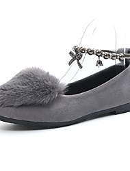 Women's Flats Comfort Fur PU Fall Winter Casual Walking Comfort Flat Heel Black Gray Flat