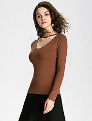Feminino Camiseta Happy-Hour / Casual / Férias Fofo / Moda de Rua Todas as Estações / Inverno,Sólido Azul / Vermelho / Marrom / Verde