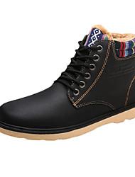 Men's Boots Winter Comfort PU Casual Flat Heel Lace-up Black Blue Khaki