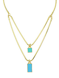 New Gold Color Double Layers Square Pendant Necklaces