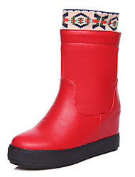Women's Boots Winter Platform / Snow Boots Leatherette Dress Platform Slip-on / Split Joint Black / Red / White Others