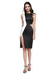 TS Couture Cocktail Party Prom Dress - Color Block Little Black Dress Sheath / Column Jewel Knee-length Satin with Split Front