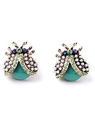 European Style Luxury Gem Geometric Earrrings Ladybugs Stud Earrings for Women Fashion Jewelry Best Gift
