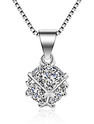 925 square silver Zircon Pendant Necklace