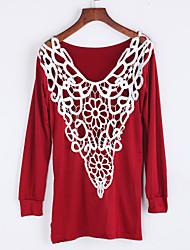 Damen Solide Street Schick Lässig/Alltäglich T-shirt,Rundhalsausschnitt Herbst Langarm Rot / Schwarz / Braun Baumwolle Mittel
