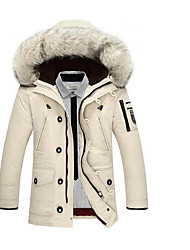 Men's Regular Down Coat,Simple Casual/Daily Solid-Polyester White Duck Down Long Sleeves