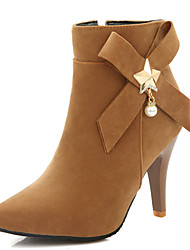Women's Shoes Stiletto Heel Pointed Toe Bowknot Pearl Ankle Bootie More Color Available