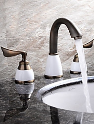 Contemporary / Modern Widespread with  Ceramic Valve Two Handles Three Holes for  Ti-PVD  Bathtub Faucet / Bathroom Sink